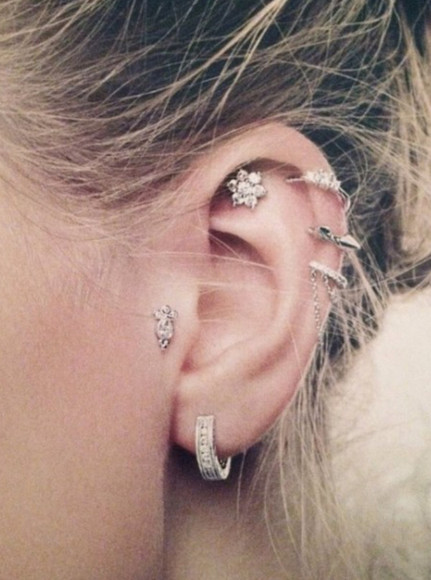 jewels earrings earing piercing ear cuff ear helix piercing silver earring hoop earrings stud earrings pretty targus