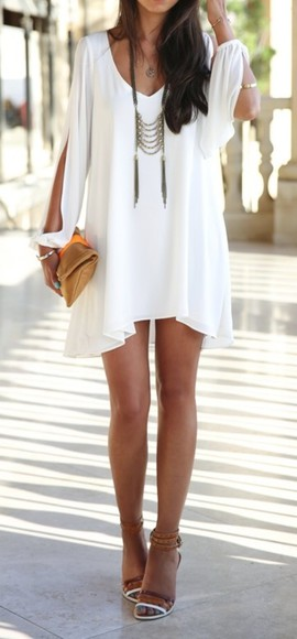 white dress flowy short dress long open shoulder flowy dress flowy white dress short white dress white ruffles dress white shoes ebony lace ebony lace - lookbooksotre ebonylace.storenvy ebonylace-streetfashion fashion summer outfits casual formal white slit-sleeves pheasant dress jewels white shift dress white flowy dress little white dress open sleeve boho