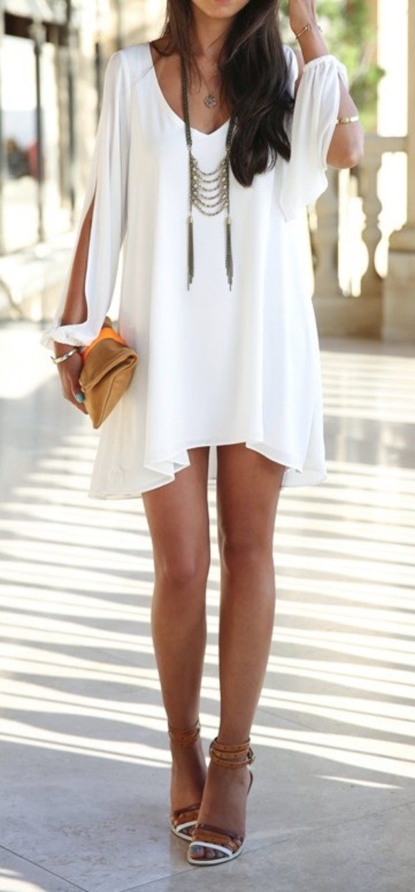 mini dress summer dress boho dress long sleeve dress necklace clutch sandals dress boho flowy white dress white summer dress short dress shoes chiffon dress