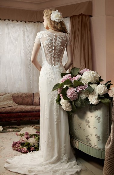 dress wedding dress bridal gown lace sheath undefined flower demure noble