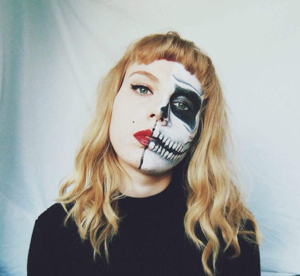 the velvet black grunge blogger skeleton halloween makeup halloween