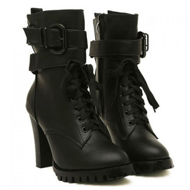 shoes booties heels black boots boots combat