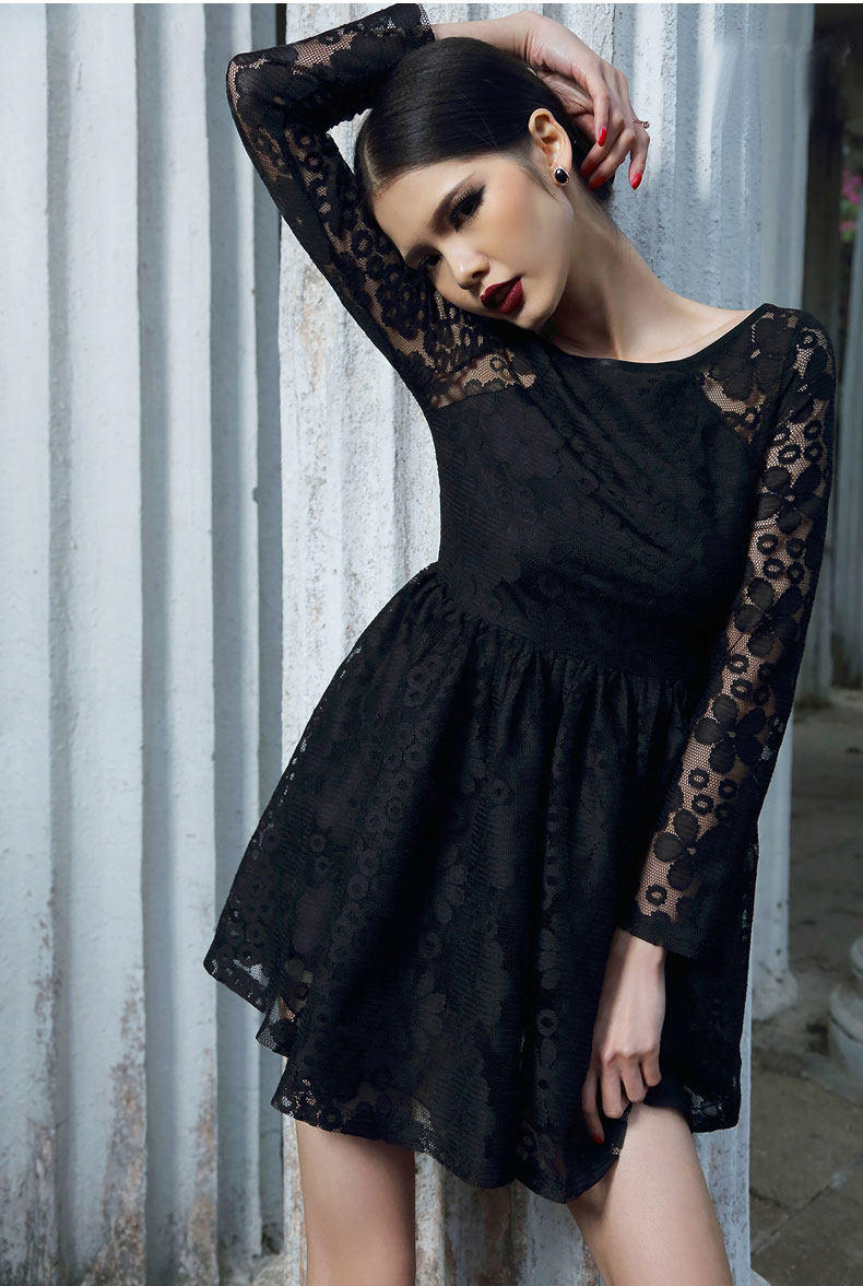 Touch-Of-Glam High-Waisted Lace Dress [FXBI00539] - PersunMall.com