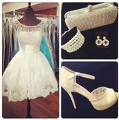 dress,short mini backless beaded evening prom homecoming dresses,white dress,pearl dress,lace dress