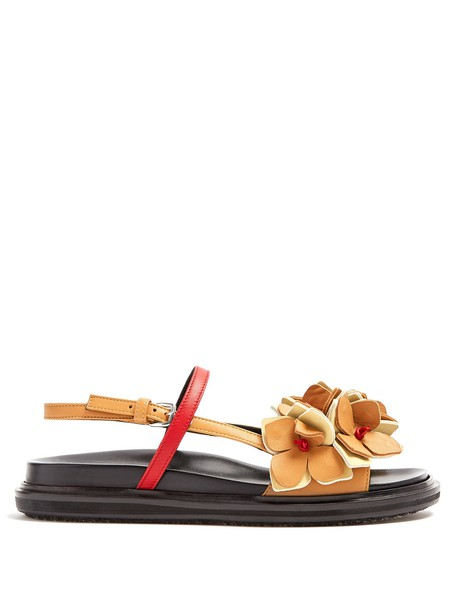 MARNI sandals flat sandals leather tan shoes