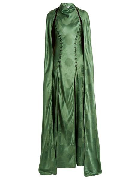 Rosie Assoulin gown satin green dress