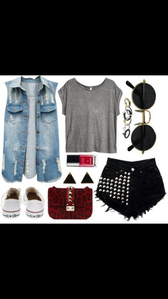 t-shirt grey t-shirt black high waisted pants sunglasses jean jacket for girls jacket