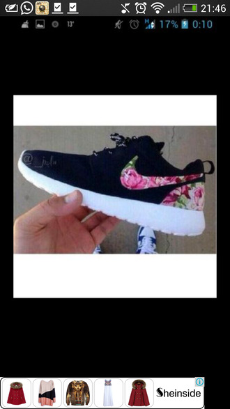 shoes nike roshe run flowers pink green white black
