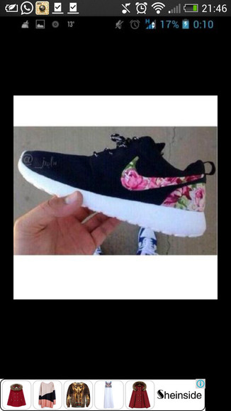 black white shoes nike roshe run flowers pink green