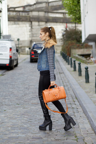 from brussels with love blogger jacket leggings shoes blouse bag