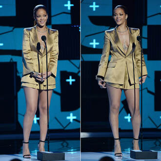 shorts blazer rihanna bet awards sandals gold