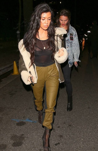 top see through bra kourtney kardashian boots jacket kardashians