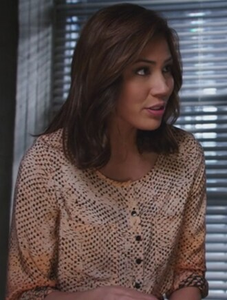 dress orange printed michaela conlin angela montenegro bones tv show silk