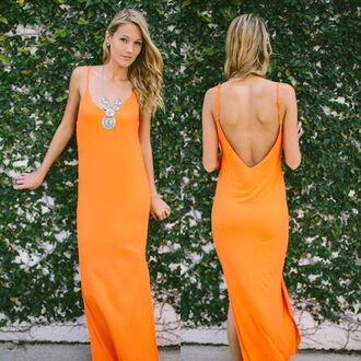 dress orange orange dress spaghetti strap open back maxi maxi dress orange maxi neon neon orange maxi neon orange maxi dress slit dress summer summer dress summer outfits spring spring outfits spring dress jersey dress comfy sexy high slit dress