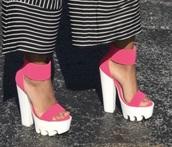 shoes,pink chunky platform