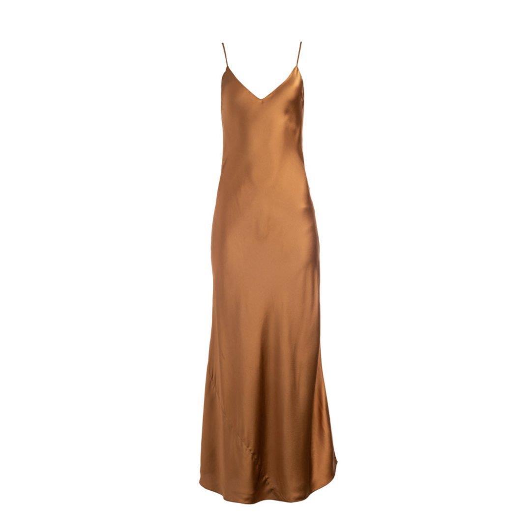 Copper Long Silk Slip Dress