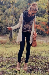 jacket,cardigan,scarf,fall sweater,fall outfits,t-shirt,shirt,pants,shoes,bag,blouse,infinity scarf,black knit scarf,nude boots,heels,wedges,lace up ankle boots,casual,brown,white,coldweather,jeans