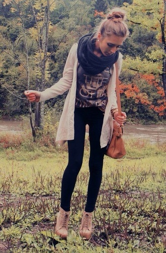 jacket cardigan scarf fall sweater fall outfits t-shirt shirt pants shoes blouse