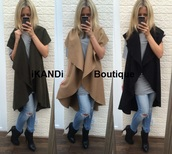 jacket,ikandiboutique,waistcoat,waterfall jacket,cardigan,cape,draped,wool,woollen,coat,open front,casual,casual jacket,autumn/winter,autumn jacket,camel,khaki,black,sweater,kimono,sleeveless,cute,fashion,long,loose,oversized,oversized cardigan