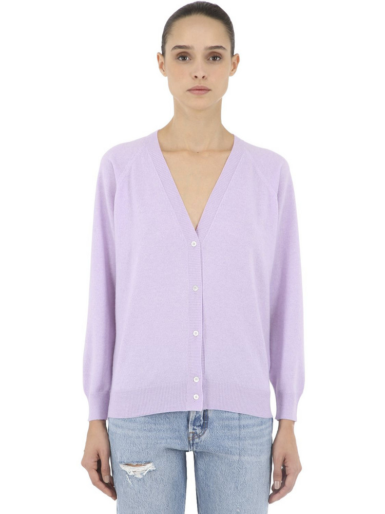 LUISA VIA ROMA Cashmere Knit Cardigan in purple