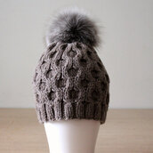 hat,fur pom pom hat,beanie,brown hat,headwear,silver fox,fox fur pom pom,chunky knit,casual chic,honeycomb,hand knitted