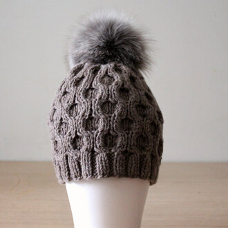 hat fur pom pom hat beanie brown hat headwear silver fox fox fur pom pom chunky knit casual chic honeycomb hand knitted