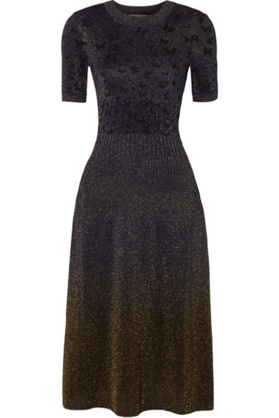Bottega Veneta dress midi dress metallic midi jacquard blue