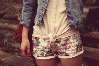 shorts floral white shirt floral shorts jean jacket jacket