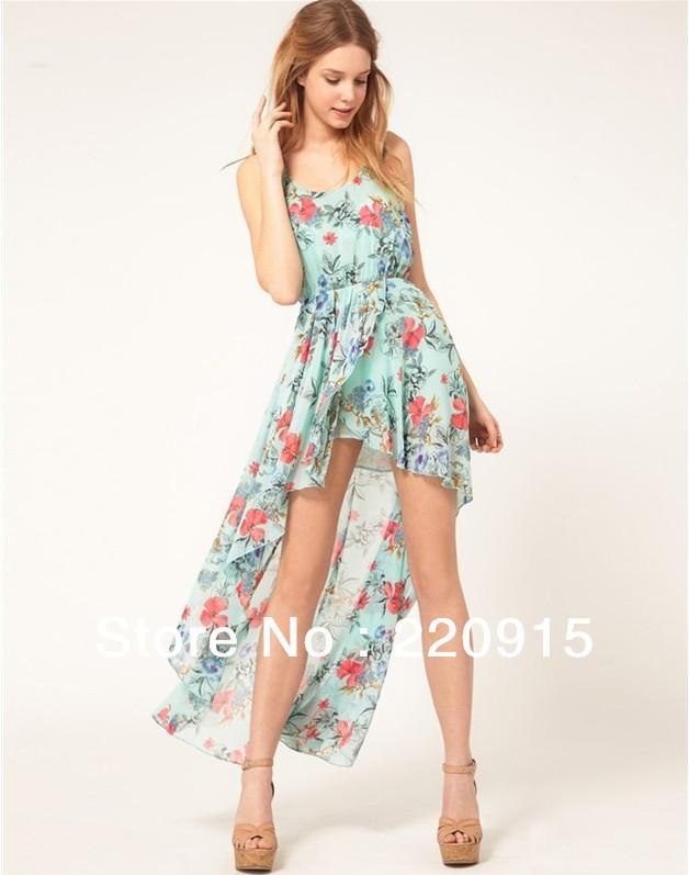 2013 New Fashion sleeveless Women's love chiffon  Flower printing  long dress asymetric  irregular green dress A058-in Dresses from Apparel & Accessories on Aliexpress.com