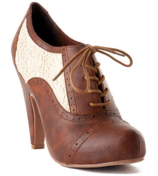 shoes oxfords lace high heels