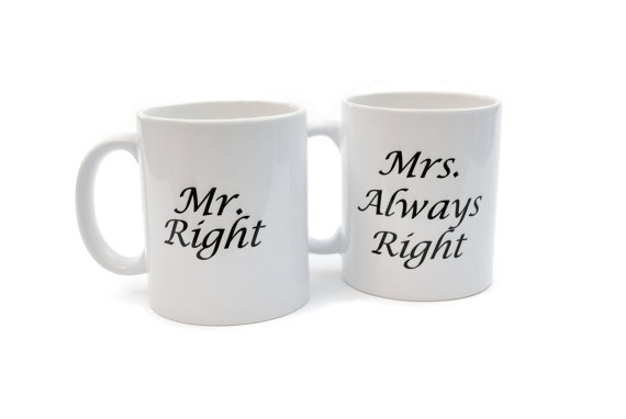 Mr right and mrs always right white ceramic by neuronsnotincluded