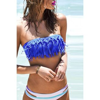 swimwear rose wholesale fringes strapless bandeau cute boho vintage bikini mynystyle girly chic fashion summer sexy beach girl girly wishlist two-piece swimwear two piece