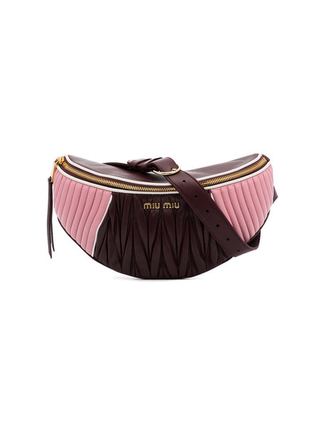belt bag women bag leather purple pink brown