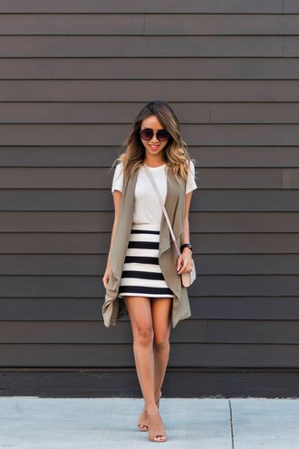 lace and locks blogger shoes white top sleeveless stripes striped shirt mini skirt nude boots open toes shoulder bag mini bag pink bag striped skirt white t-shirt vest round sunglasses sunglasses crossbody bag nude bag
