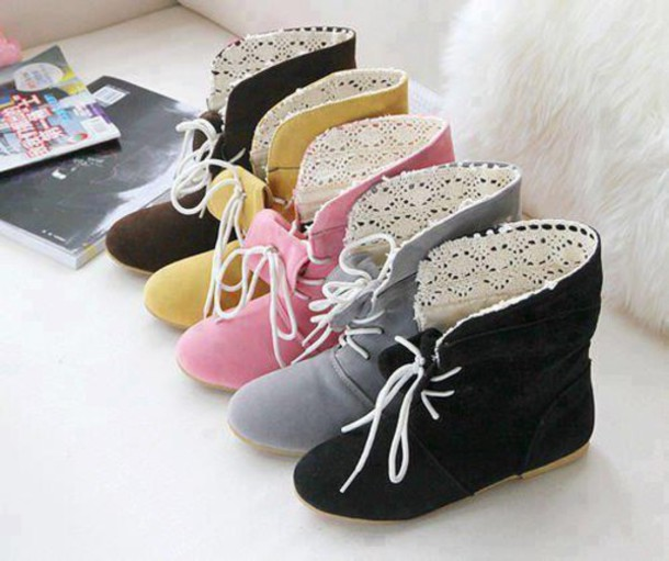 shoes boots lace tie up cute