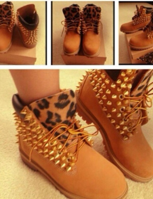 shoes timberlands leopard print studded