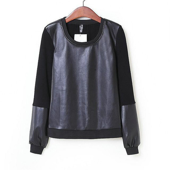 black top top leather top pu black sweater jumper