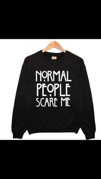 black sweater american horror story white writing