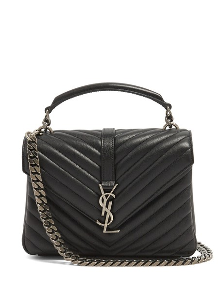 Saint Laurent cross quilted bag leather black