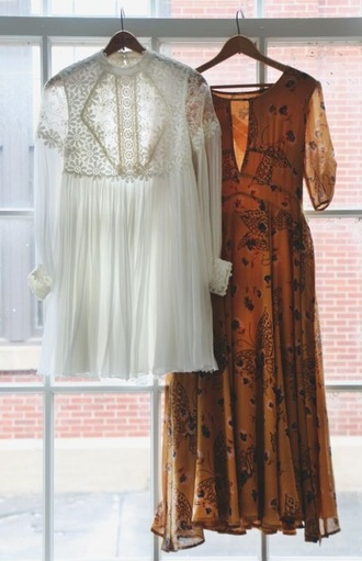 dress boho indie 70s style 1970 crochet paisley rust boho dress lace dress white lace dress white lace boho chic printed dress long sleeve dress midi dress chiffon dress short wedding dress