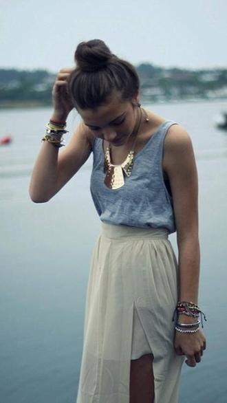 shirt grey sleeveless necklace gold beige maxi dress maxi skirt accessories cute pretty trendy outfit bun skirt jewels