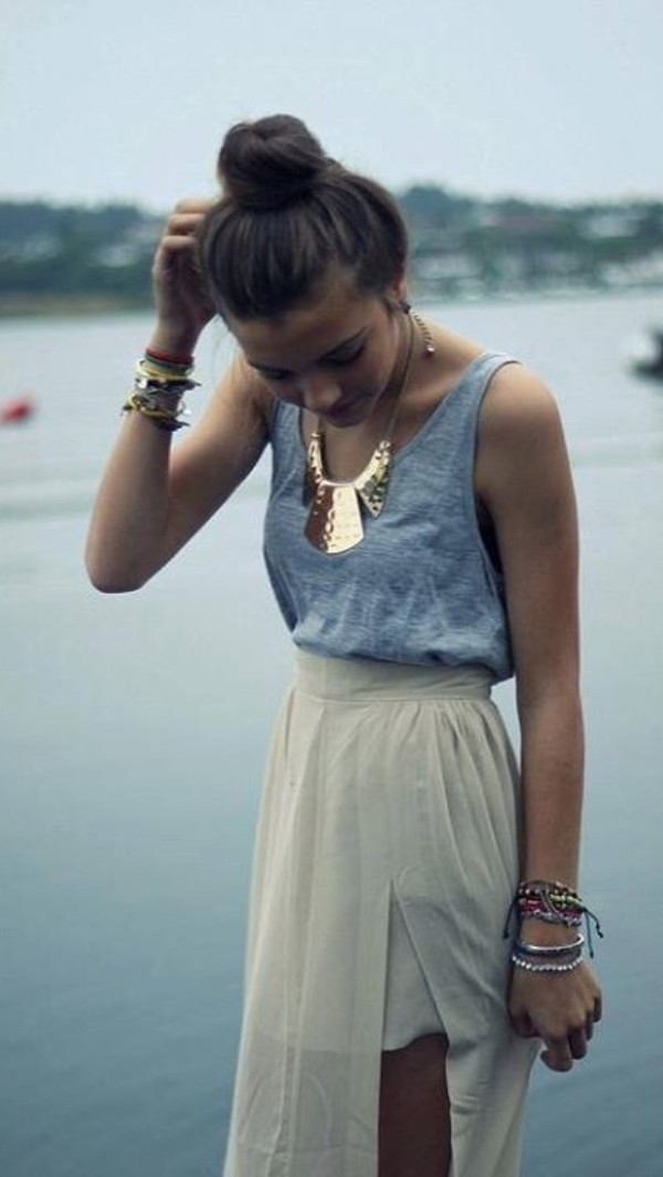 shirt grey sleeveless necklace gold beige maxi dress maxi skirt accessories cute pretty trendy outfit bun skirt jewels