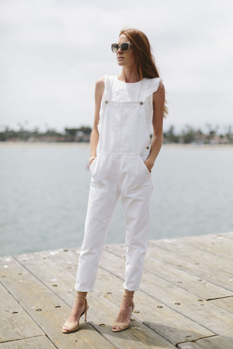 could i have that blogger shoes sunglasses jewels jumpsuit white jumpsuit nude heels white top overalls denim overalls sleeveless top sandals sandal heels nude sandals spring outfits