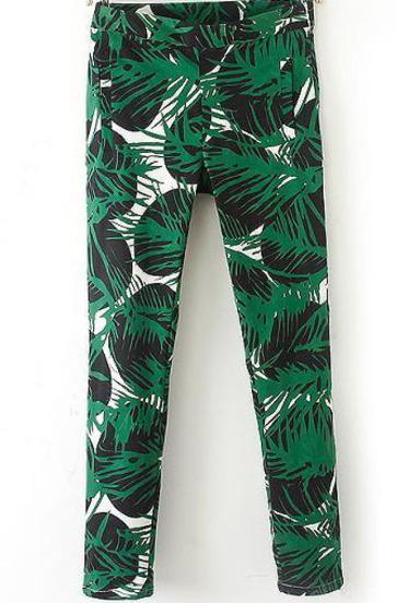 Green Mid Waist Leaves Print Pant - Sheinside.com