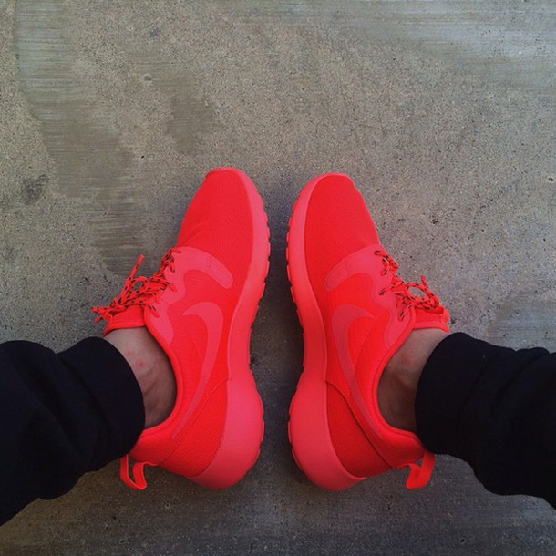 shoes nike nike shoes sportswear cool nike roshe run red nike shoes red  roshe bright red
