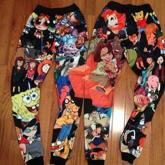 cartoon beavis and butt-head bart simpson 90s style spongebob printed pants pajamas 90's cartoons kim possible proud family pants sweatpants joggers the powerpuff girls disney channel nickelodeon black hey arnold the simpsons halloween daria arthur doug jeans multicolor pizza print disney bigcartel these exact joppers cartoon joggers character joggers leggings cartoon joggers ❤️ kids show bag