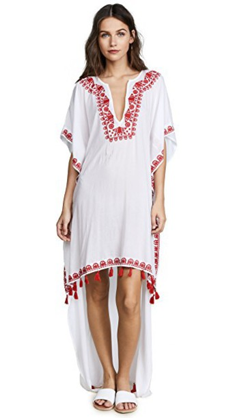 cover up boho high high low red swimwear