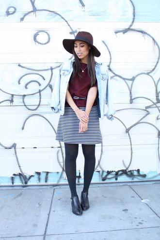 pancake stacker blogger striped skirt denim jacket
