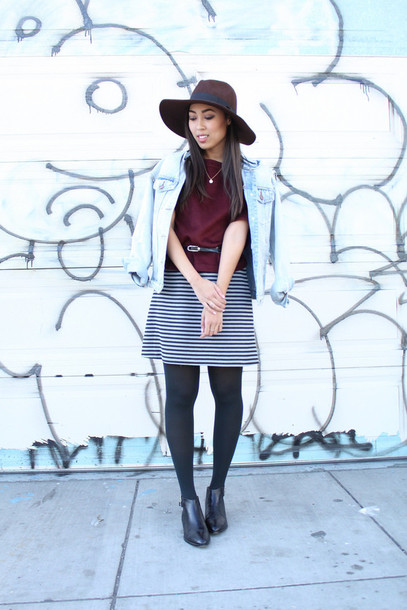 pancake stacker blogger striped skirt denim jacket dress skirt top jacket hat shoes
