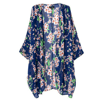 top open front cardigan kimono floral print top non button three-quarter sleeves